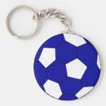 Azul e branco do futebol do futebol chaveiros