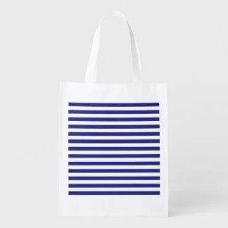 Azul e branco listra a bolsa de compra reusável sacolas reusáveis