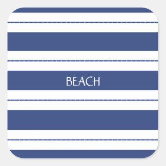 Azul e branco listrados adesivo quadrado