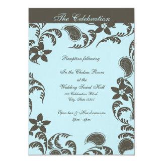 Azul e Brown Paisley floral Convite Personalizados