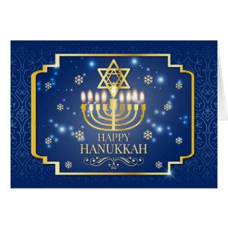 Azul e cartão com fotos de Hanukkah do ouro