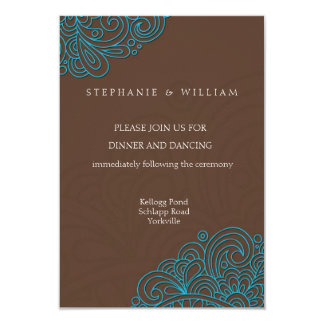 Azul e cartão da recepção de casamento do convite 8.89 x 12.7cm