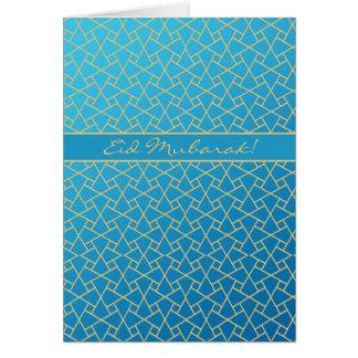 Azul e cartão de Eid do Ouro-efeito, teste padrão Cartão Comemorativo