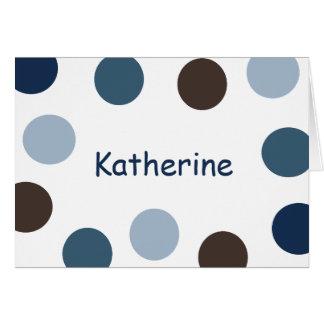Azul e cartão de nota das bolinhas de Brown