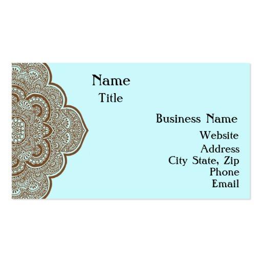 Azul e cartão de visita do Henna de Brown