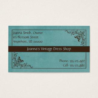 Azul e cartão de visita do vintage do redemoinho