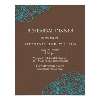Azul e cartão do jantar de ensaio do redemoinho do convite 10.79 x 13.97cm