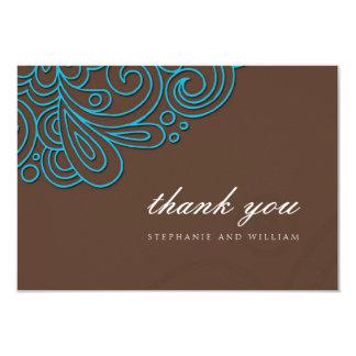 Azul e cartões de agradecimentos do casamento do convite 8.89 x 12.7cm