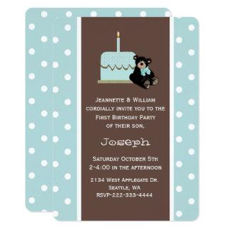 Azul e convite do aniversário do bebê de Brown
