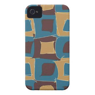 Azul e forma geométrica abstrata de Brown Capinha iPhone 4