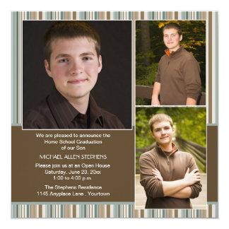 Azul e graduação da escola da casa da foto da convites personalizado