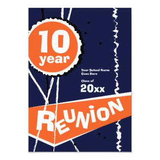 Azul e laranja convite da reunião de classe de 10