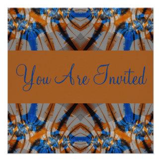 azul e marrom convites personalizado