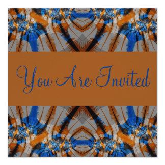 azul e marrom convite quadrado 13.35 x 13.35cm