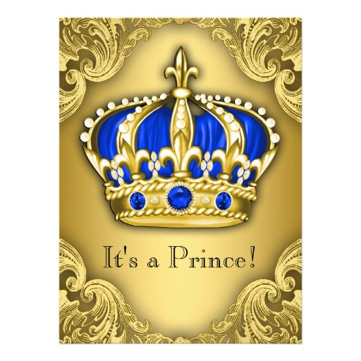 Azul e ouro extravagantes do príncipe chá de convites personalizados