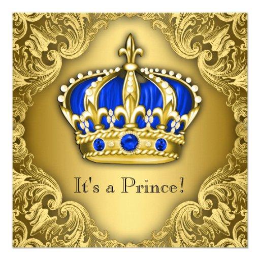 Azul e ouro extravagantes do príncipe chá de convites