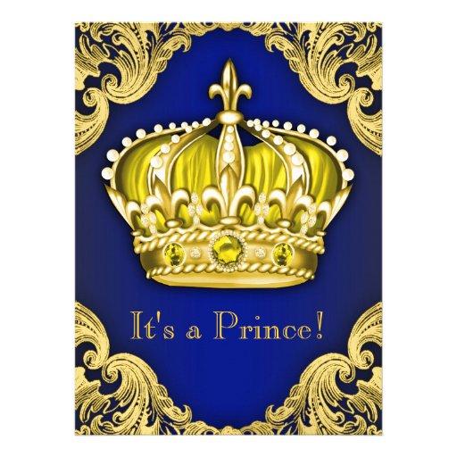 Azul e ouro extravagantes do príncipe chá de convite personalizado
