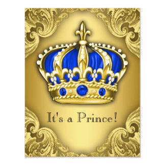 Azul e ouro extravagantes do príncipe chá de convite 10.79 x 13.97cm