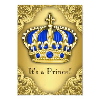 Azul e ouro extravagantes do príncipe chá de convite 11.30 x 15.87cm