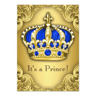Azul e ouro extravagantes do príncipe chá de convite 12.7 x 17.78cm