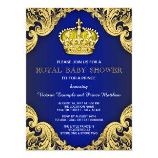 Azul e ouro extravagantes do príncipe chá de convite 16.51 x 22.22cm