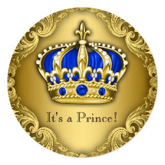 Azul e ouro extravagantes do príncipe chá de convite quadrado 13.35 x 13.35cm