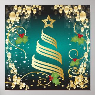 Azul e ouro festivos de turquesa do Feliz Natal Pôsteres