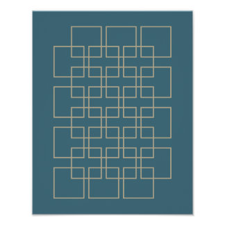 Azul e poster moderno do meio século do divisor de