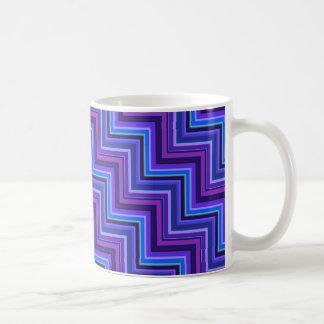 Azul e roxo listra escadas caneca de café
