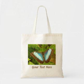 Azul e sacola da foto da borboleta de Brown Sacola Tote Budget