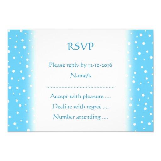 Azul e teste padrão manchado branco convites personalizado