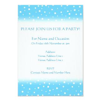 Azul e teste padrão manchado branco convite 12.7 x 17.78cm