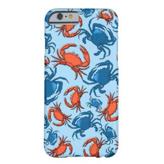 Azul e vermelho Crabs a colagem Capa Barely There Para iPhone 6