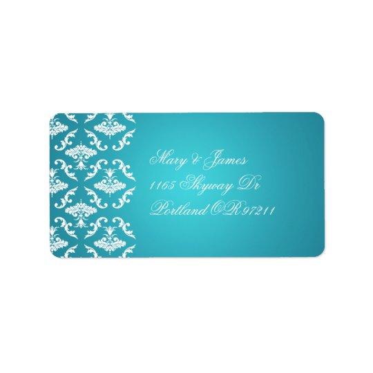 Azul elegante do damasco do vintage do endereço do etiqueta de endereço