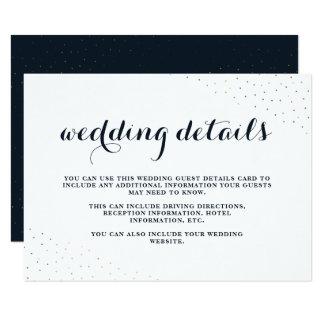 Azul elegante e branco com os pontos que Wedding Convite 8.89 X 12.7cm