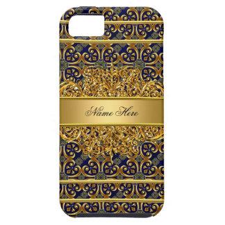 Azul elegante elegante do ouro capas para iPhone 5