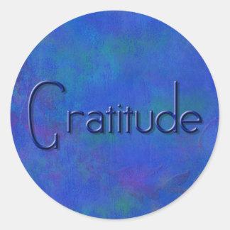 Azul em etiquetas redondas da gratitude azul do adesivo