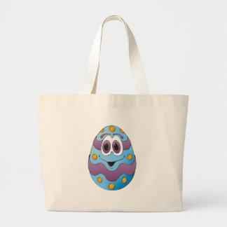 Azul engraçado do ovo da páscoa bolsa para compra