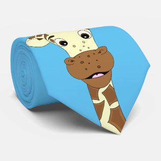 Azul engraçado dos desenhos animados do girafa gravata