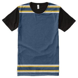 Azul escuro com branco e guarnição do ouro camiseta com impressão frontal completa
