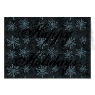 Azul escuro do teste padrão do floco de neve cartao