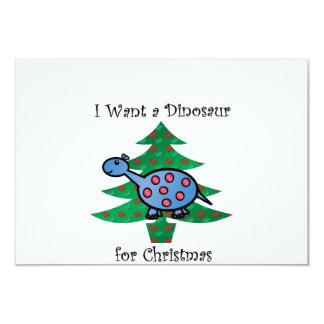 Azul eu quero um dinossauro para o Natal Convite 8.89 X 12.7cm