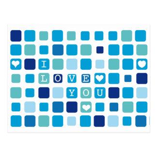"""Azul """"eu te amo"""" cartão do mosaico cartão postal"""