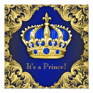 Azul extravagante do príncipe chá de fraldas convites personalizado