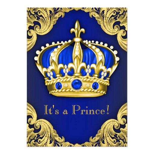 Azul extravagante do príncipe chá de fraldas convite personalizado