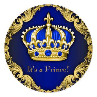 Azul extravagante do príncipe chá de fraldas convite quadrado 13.35 x 13.35cm