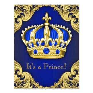 Azul extravagante do príncipe chá de fraldas convite 10.79 x 13.97cm