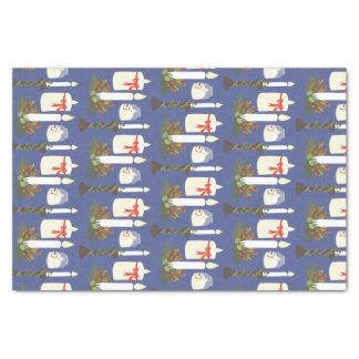 Azul festivo do impressão da vela papel de seda