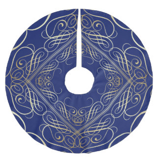 Azul filigrana de Scrollwork do olhar elegante da Cobertura Para Árvore De Natal De Poliéster