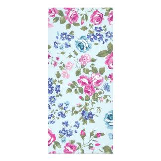 azul floral de rosa e do imagem 10.16 x 22.86cm panfleto